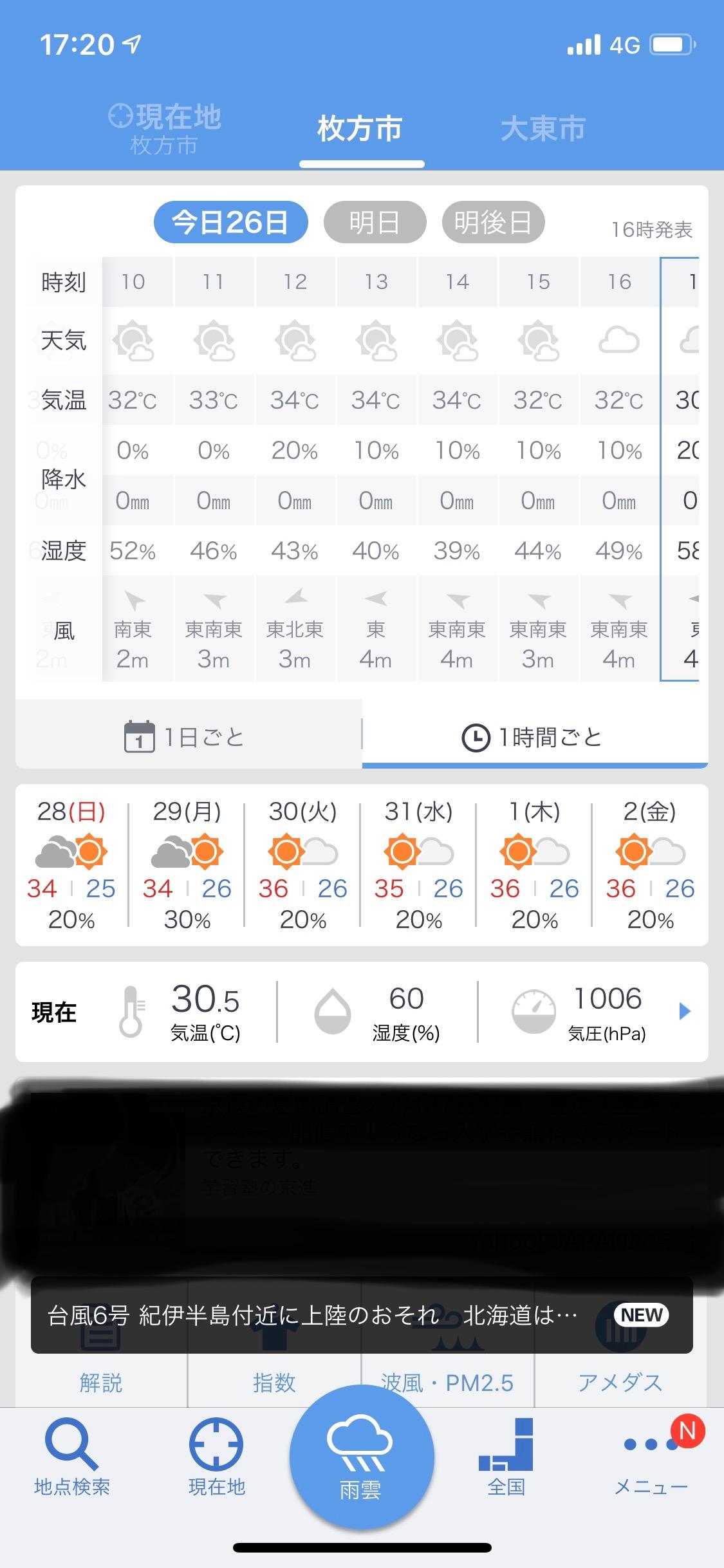 7/26の枚方市の気温